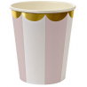 Gobelets Rose Pastel Rayées Blanc - Candy Party