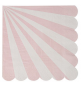 20 Serviettes Cocktail Rose Pastel Rayées Blanc - Candy Party