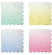 16 Serviettes Cocktail Confettis Pastel & Doré Bleu Rose Vert et Jaune Vaisselle Jetable