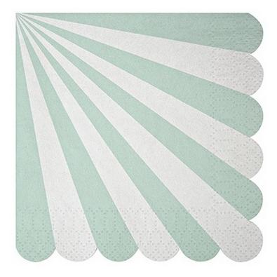 serviettes cocktail vert mint d 39 eau pastel rayures blanches meri meri. Black Bedroom Furniture Sets. Home Design Ideas