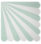 Grandes Assiettes Vert d'eau Pastel Rayées Blanc - Candy Party