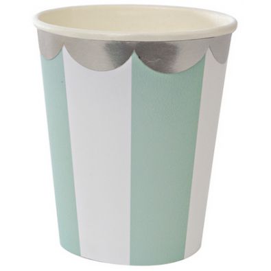Gobelets Premium Vert d'eau Pastel Rayées Blanc - Candy Party