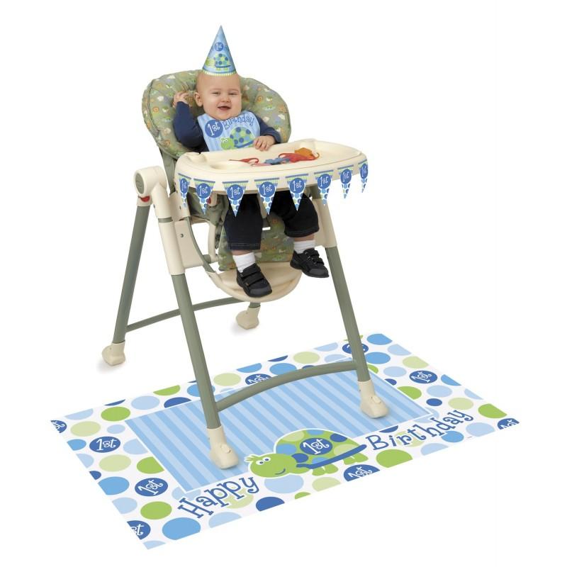 kit d coration th me tortue bleue express chaise haute. Black Bedroom Furniture Sets. Home Design Ideas