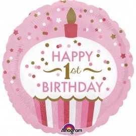 Ballon Géant Cup Cake Premier Anniversaire First Birthday Girl