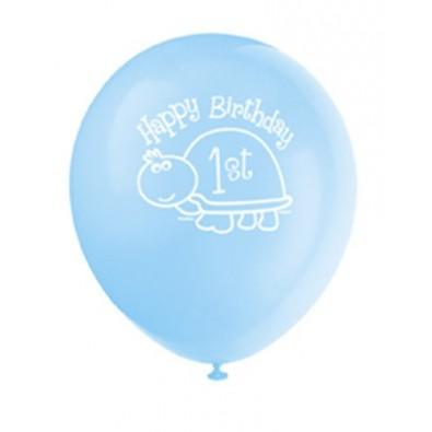 ballons latex bleu assortis d coration premier anniversaire b b gar on th me tortue ble. Black Bedroom Furniture Sets. Home Design Ideas