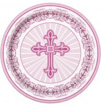 Assiettes Jetables Baptême Rose Croix et Colombe