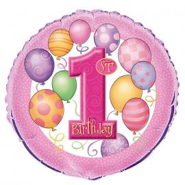 8 Ballons Latex Assortis Mon Premier Anniversaire Bébé Fille