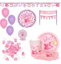 Pack Baby Shower C'est une fille rose-parme