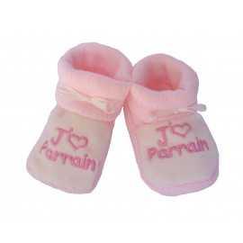 Chaussons bébé roses et blancs J'aime Parrain