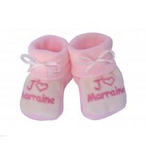 Chaussons bébé roses et blancs J'aime Marraine