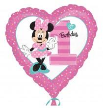 Ballon Alu Coeur Premier Anniversaire Minnie Mouse