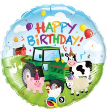 Ballon Rond Happy Birthday Anniversaire Animaux de la Ferme