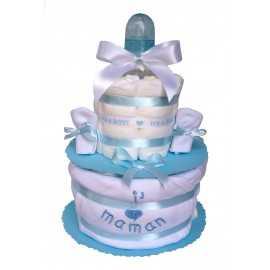 Gâteau de couches bleu J'aime Maman en Pampers