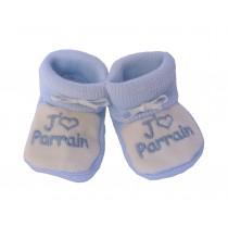 Chaussons bébés bleu et blanc J'aime Parrain