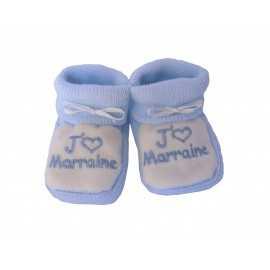 Chaussons bébés bleu et blanc J'aime Marraine