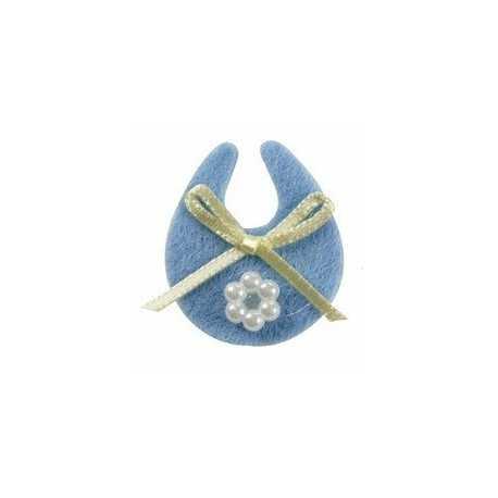Stickers bleus modèle Bavoir avec perles