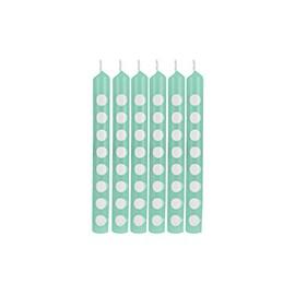 12 bougies vert mint à pois blanc - Fête