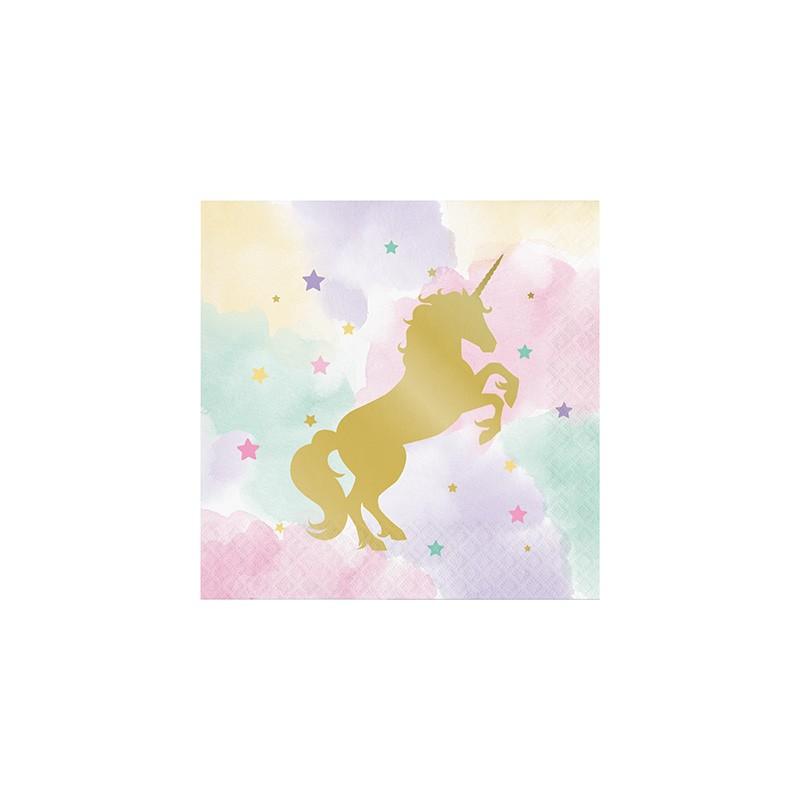 Serviettes papier th me anniversaire licorne dor e et pastel - Serviette en papier motif ...