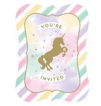 Invitation Licorne Dorée & Pastel - Anniversaire