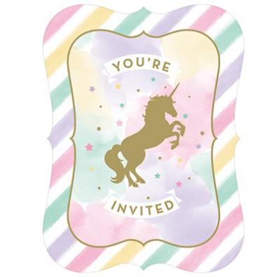 carte d 39 invitation invit th me anniversaire licorne dor e et pastel. Black Bedroom Furniture Sets. Home Design Ideas