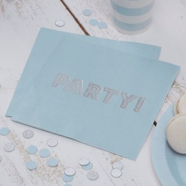 Grandes Serviettes Bleu Poudré & Argent - Anniversaire Party