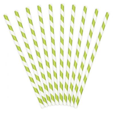 10 Pailles Rétro Rayées Vert Anis et Blanc