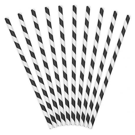 10 Pailles Rétro Rayées Noir et Blanc