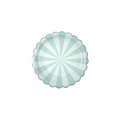 Petites Assiettes Vert d'eau Pastel Rayées Blanc - Candy Party
