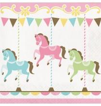Grandes Serviettes en Papier Carrousel Pastel et Doré