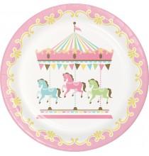 Grandes Assiettes Carrousel Pastel et Doré