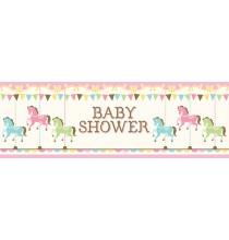 Banderole Géante Baby Shower Carrousel Pastel et Doré