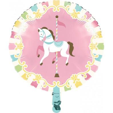 Ballon Alu Rond Carrousel Pastel et Doré