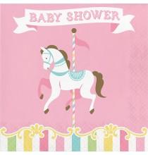 Grandes Serviettes Baby Shower Carrousel Pastel et Doré