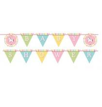 Banderole à Fanions Baby Shower Carrousel Pastel et Doré