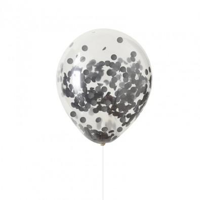 5 Ballons Confettis Noirs - Décoration de fête