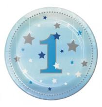 Petites Assiettes Premier Anniversaire Etoiles Bleues Little Star