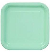 20 Petites Assiettes Mint Vert Pastel Menthe en Papier