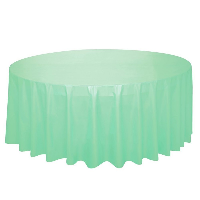 nappe plastique ronde vert pastel mint menthe table de f te. Black Bedroom Furniture Sets. Home Design Ideas