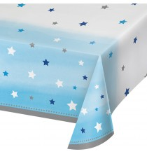 Nappe Plastique Etoiles Little Star Bleu et Gris