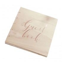 Livre d'or Guest Book Rose Cuivré & Bois
