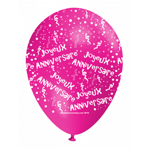 Ballon Joyeux Anniversaire (en français) all around - rose fushia