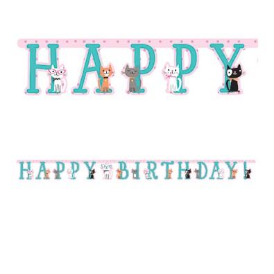 Banderole Happy Birthday - Petits Chats Anniversaire
