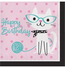 Grandes Serviettes Happy Birthday en papier - Petits Chats Anniversaire