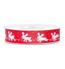 Ruban Rouge Motif Renne Blanc - Noël