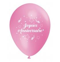 Ballon Joyeux Anniversaire (français) à l'unité rose clair