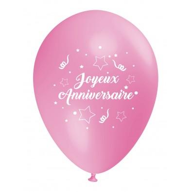 Ballon Joyeux Anniversaire (français) à l'unité rose clair - nouveau