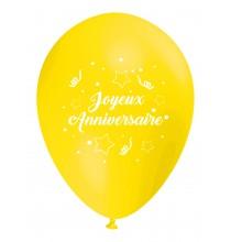 Ballon Joyeux Anniversaire (en français) à l'unité jaune