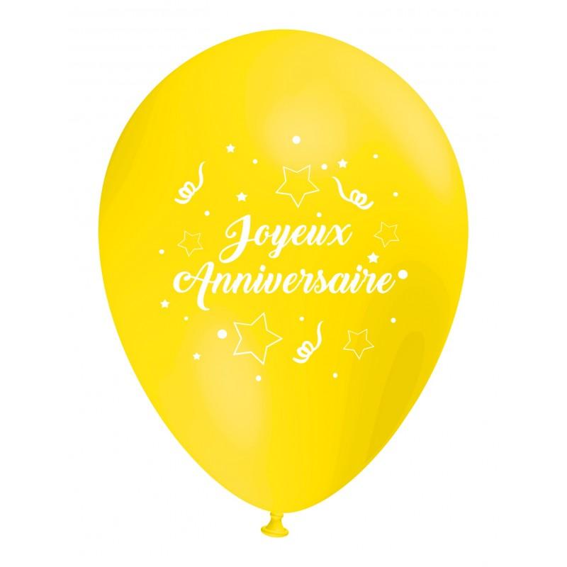 Ballon Joyeux Anniversaire Jaune Decoration Gouter D Anniversaire