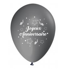 Ballon Joyeux Anniversaire (en français) à l'unité gris