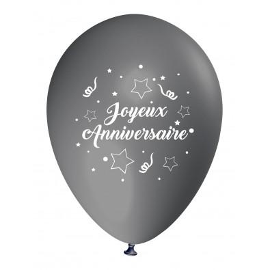 Ballon Joyeux Anniversaire (en français) à l'unité gris - nouveau